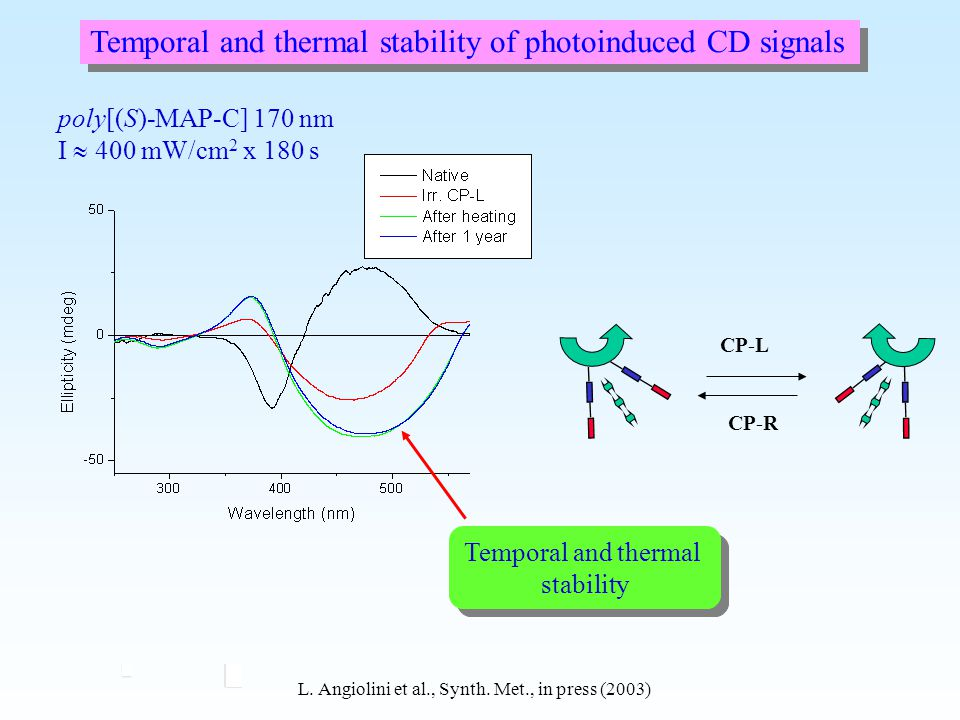 Temporal and thermal stability of photoinduced CD signals