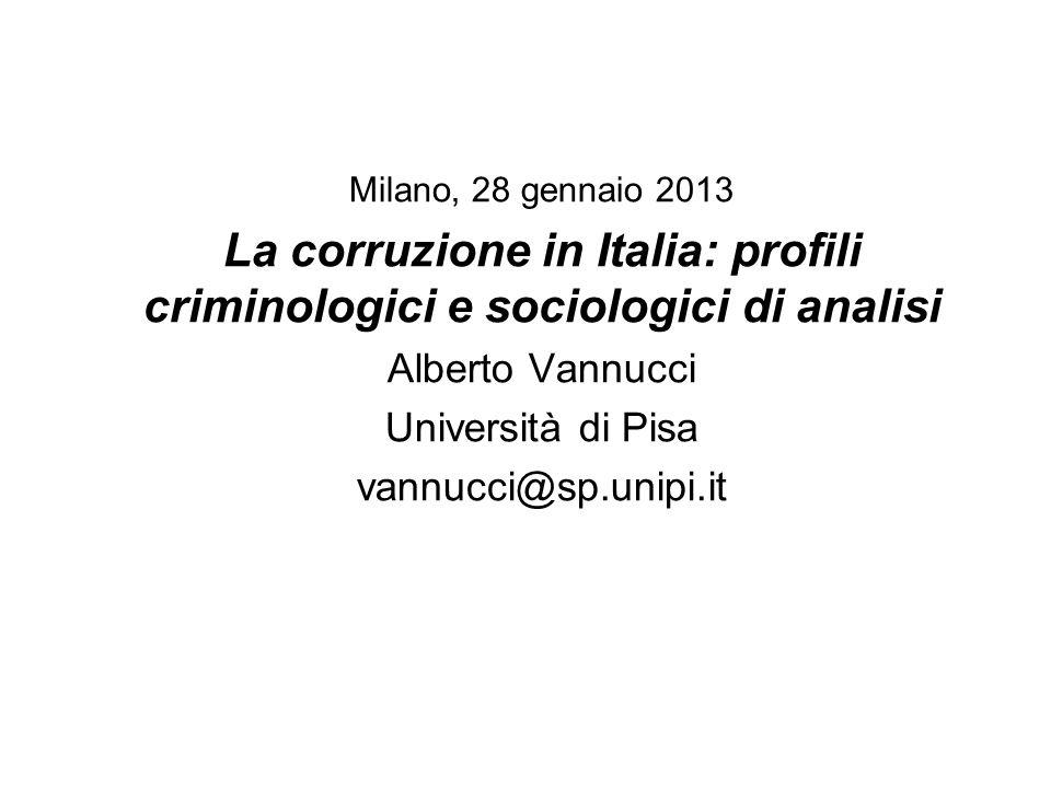 Milano, 28 gennaio 2013 La corruzione in Italia: profili criminologici e sociologici di analisi. Alberto Vannucci.
