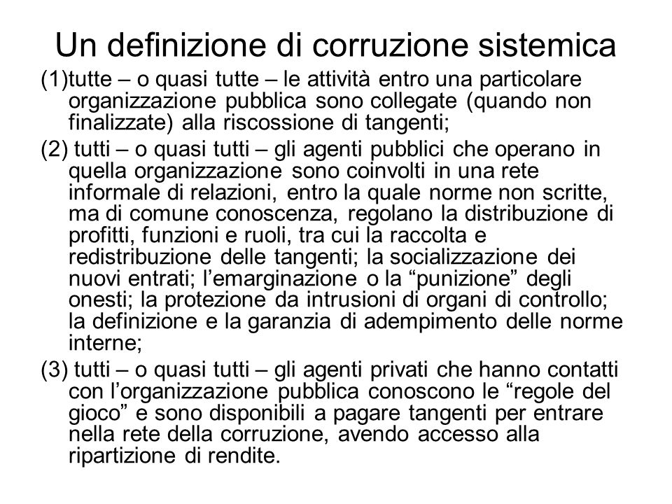 Un definizione di corruzione sistemica