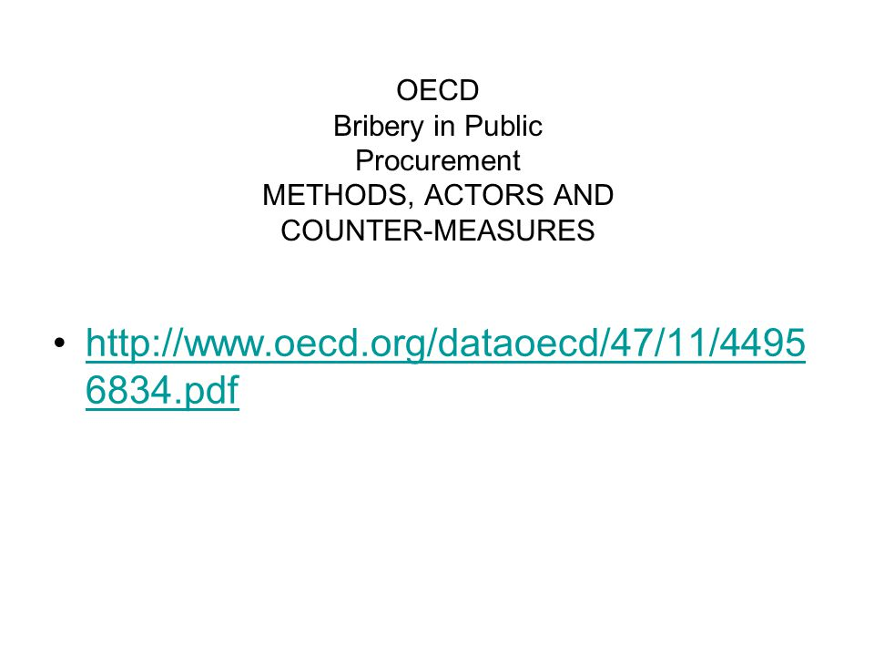 OECD Bribery in Public Procurement METHODS, ACTORS AND COUNTER-MEASURES