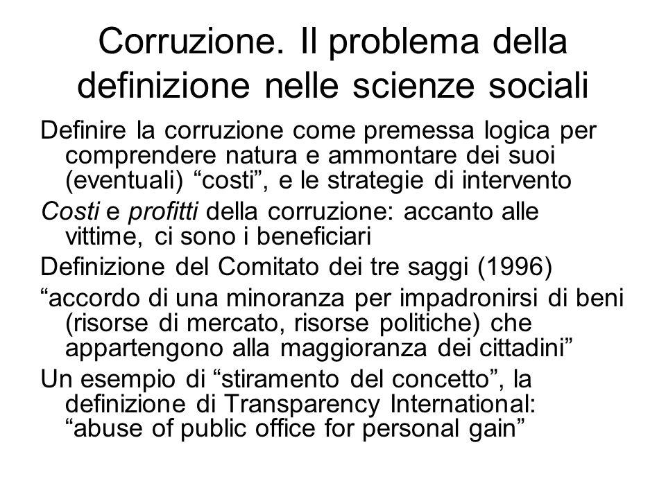 Corruzione. Il problema della definizione nelle scienze sociali