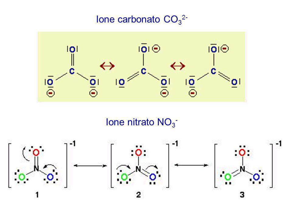 Ione carbonato CO32- Ione nitrato NO3-