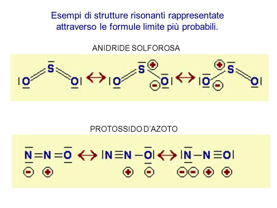 Esempi di strutture risonanti rappresentate attraverso le formule limite più probabili.