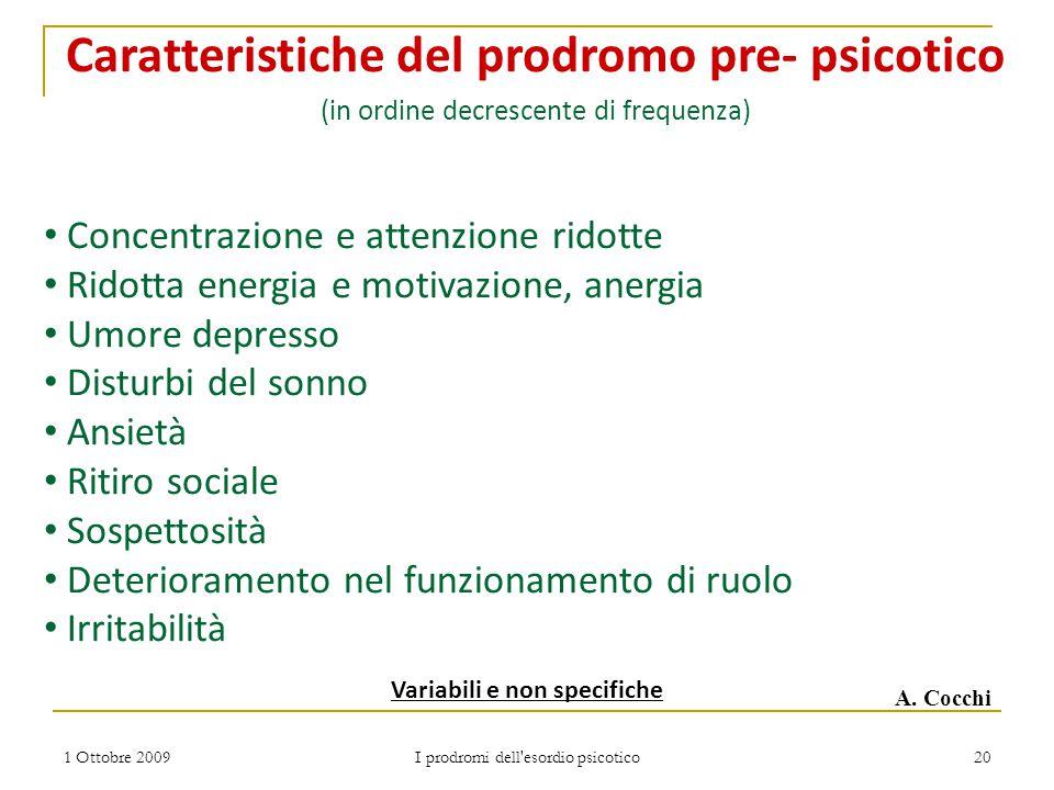 Caratteristiche del prodromo pre- psicotico Variabili e non specifiche