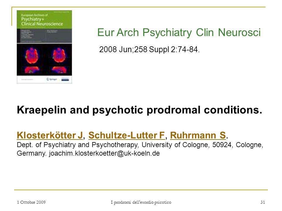 I prodromi dell esordio psicotico