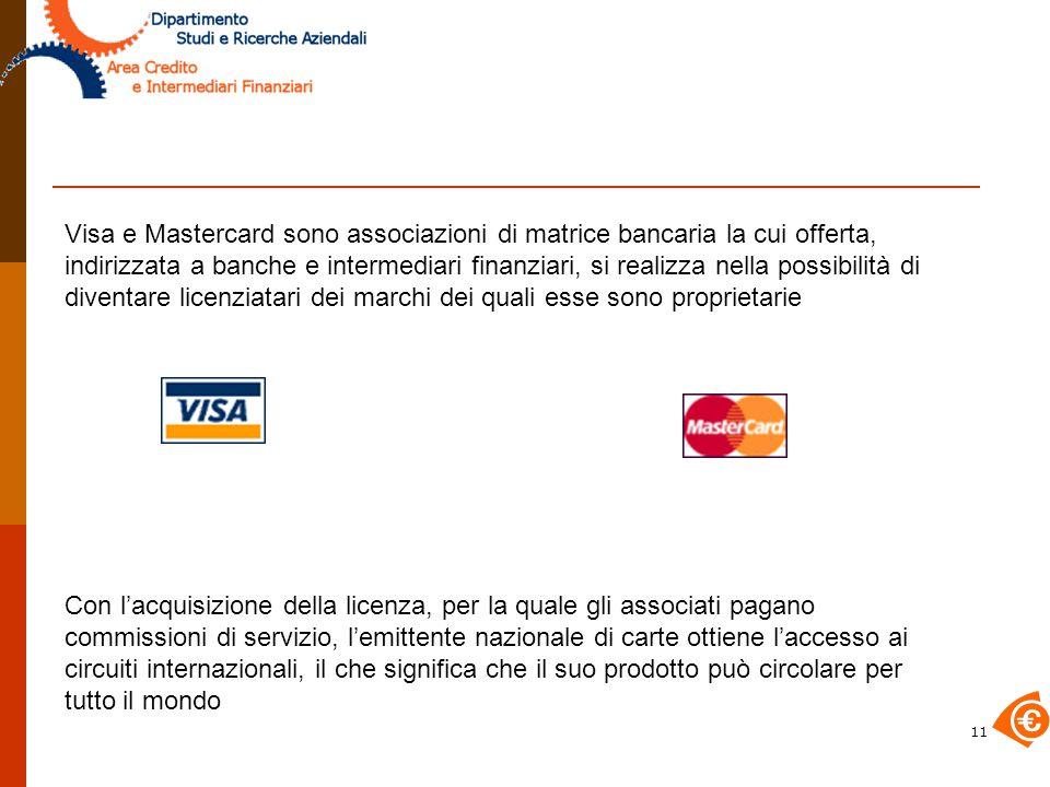 Visa e Mastercard sono associazioni di matrice bancaria la cui offerta, indirizzata a banche e intermediari finanziari, si realizza nella possibilità di diventare licenziatari dei marchi dei quali esse sono proprietarie