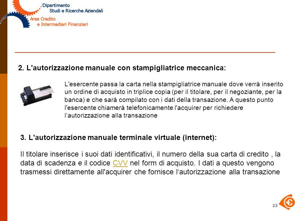 2. L autorizzazione manuale con stampigliatrice meccanica: