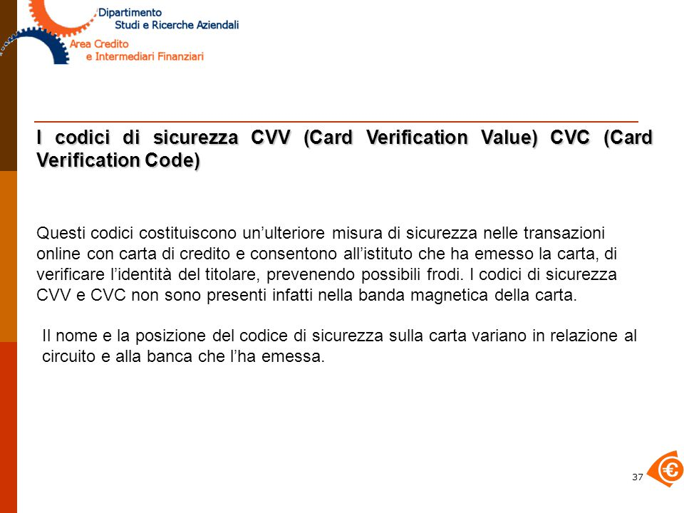 I codici di sicurezza CVV (Card Verification Value) CVC (Card Verification Code)