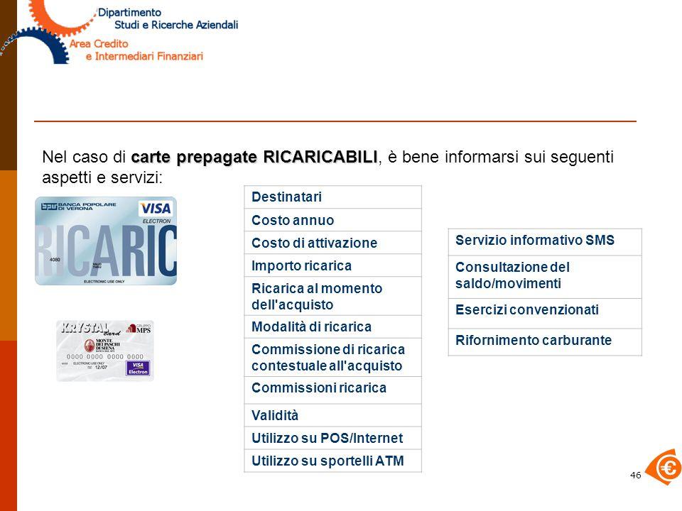 Nel caso di carte prepagate RICARICABILI, è bene informarsi sui seguenti aspetti e servizi: