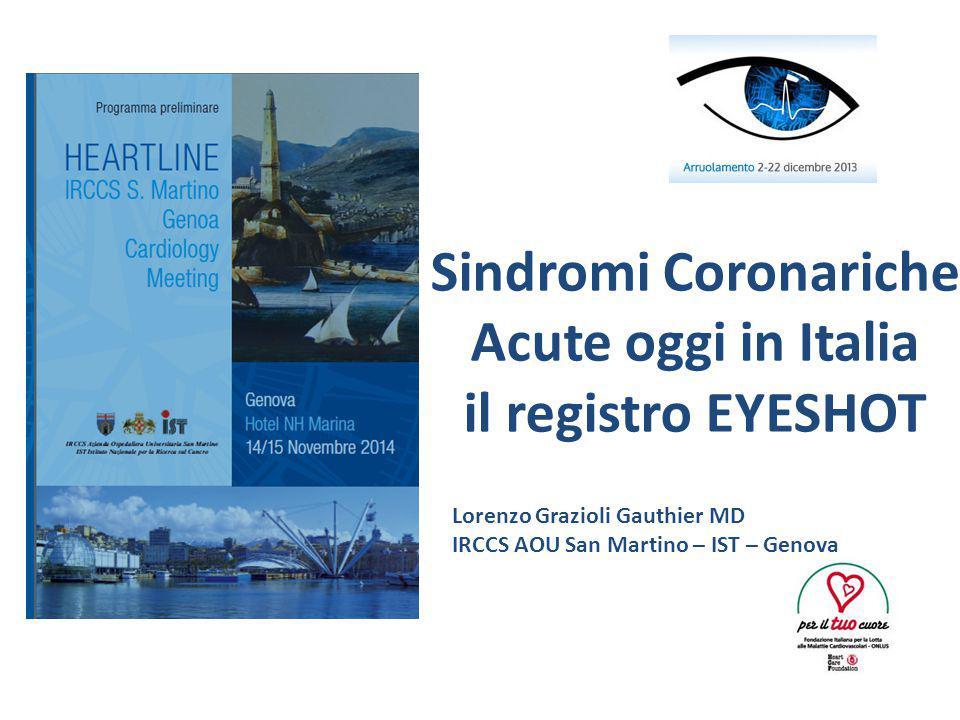 Sindromi Coronariche Acute oggi in Italia il registro EYESHOT