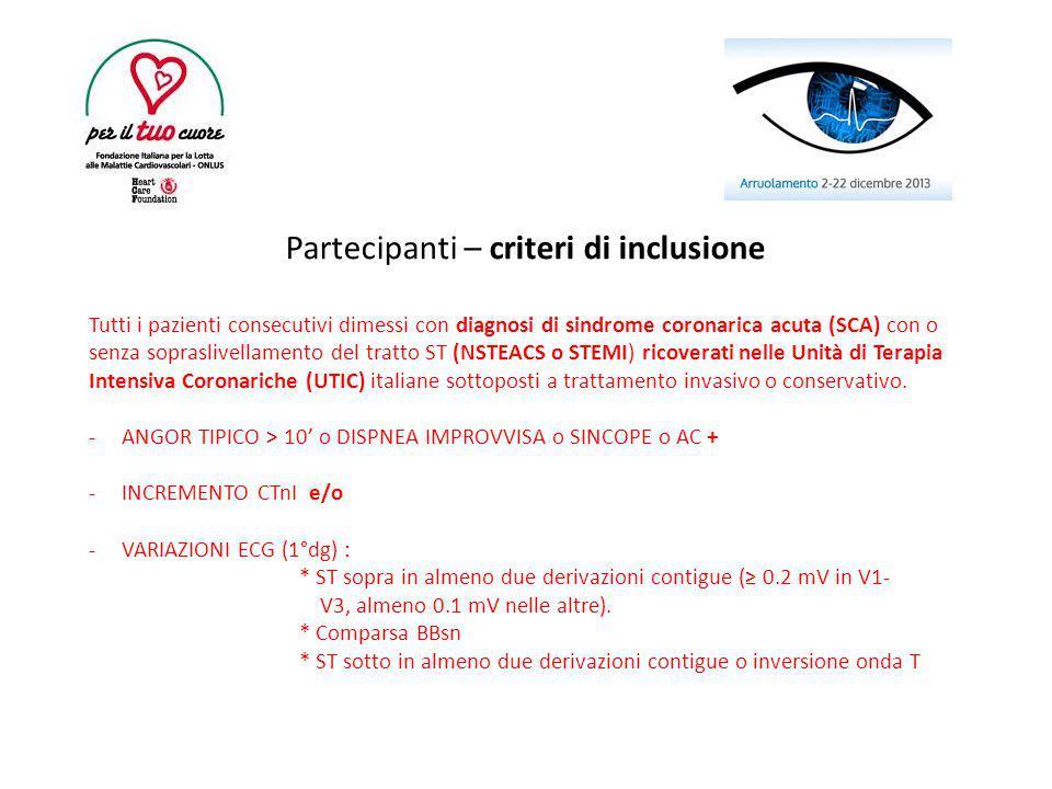 Partecipanti – criteri di inclusione