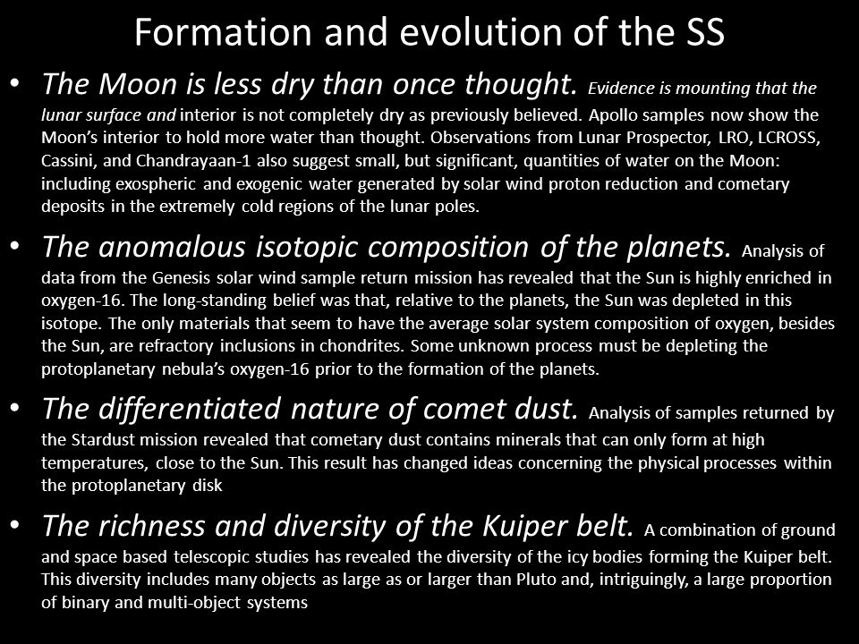 Formation and evolution of the SS