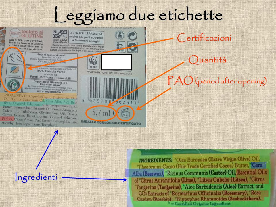Leggiamo due etichette PAO (period after opening)