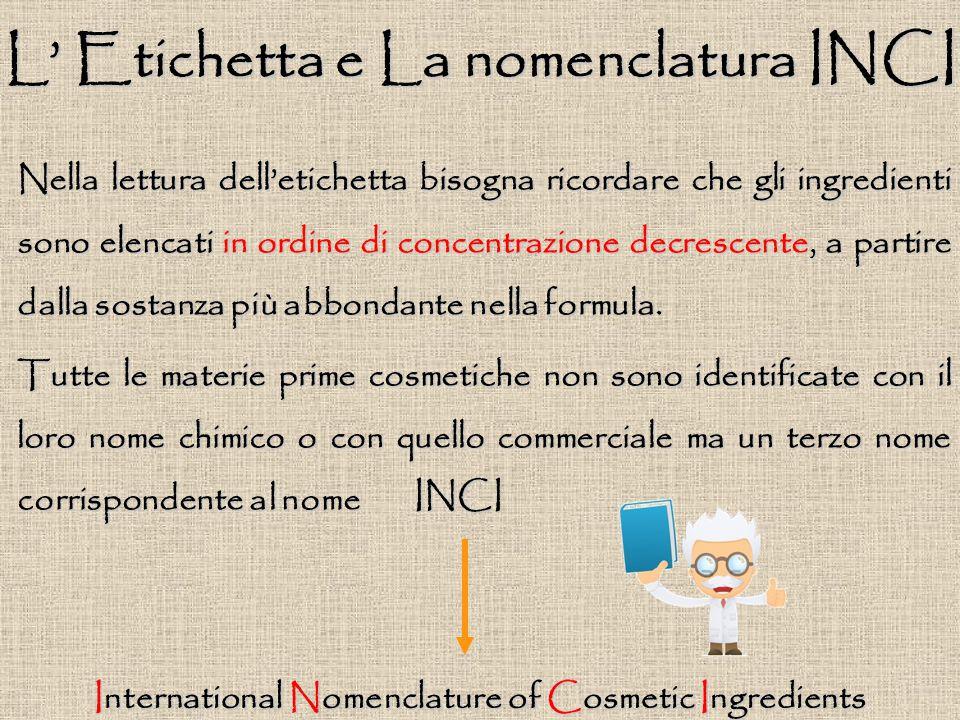L' Etichetta e La nomenclatura INCI