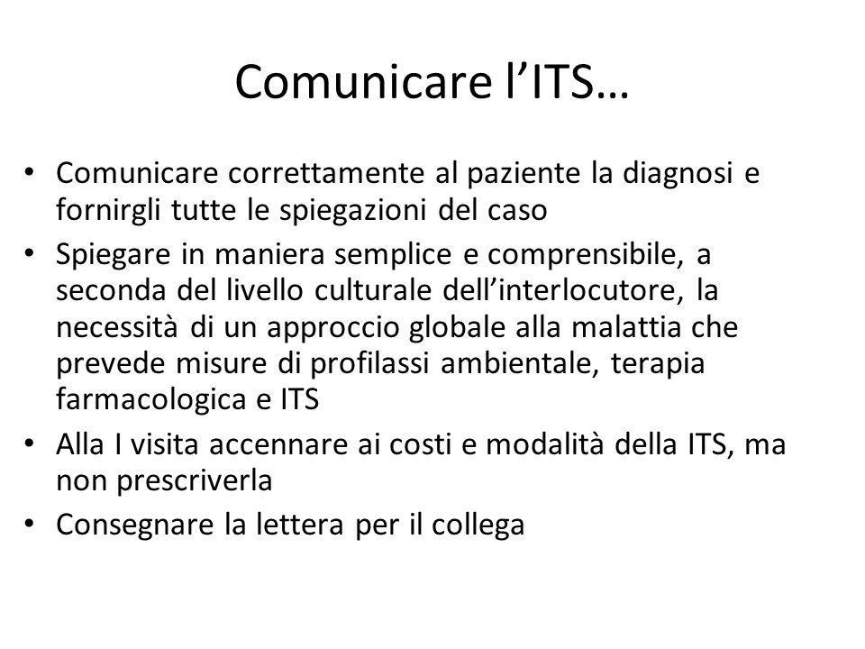 Comunicare l'ITS… Comunicare correttamente al paziente la diagnosi e fornirgli tutte le spiegazioni del caso.