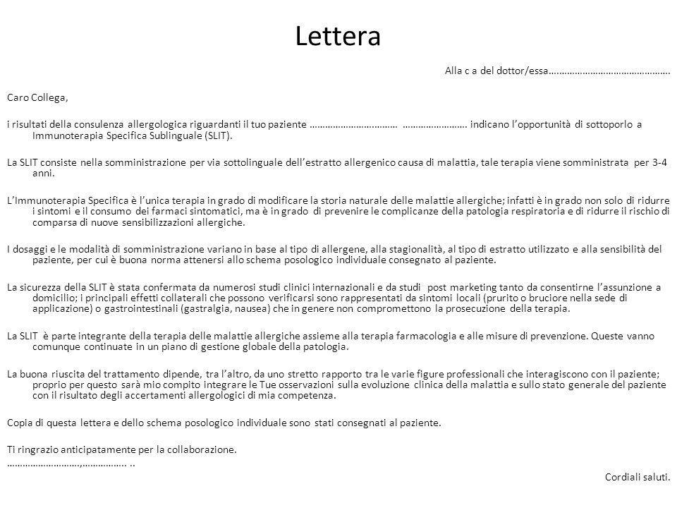 Lettera Alla c a del dottor/essa….……………………………………. Caro Collega,