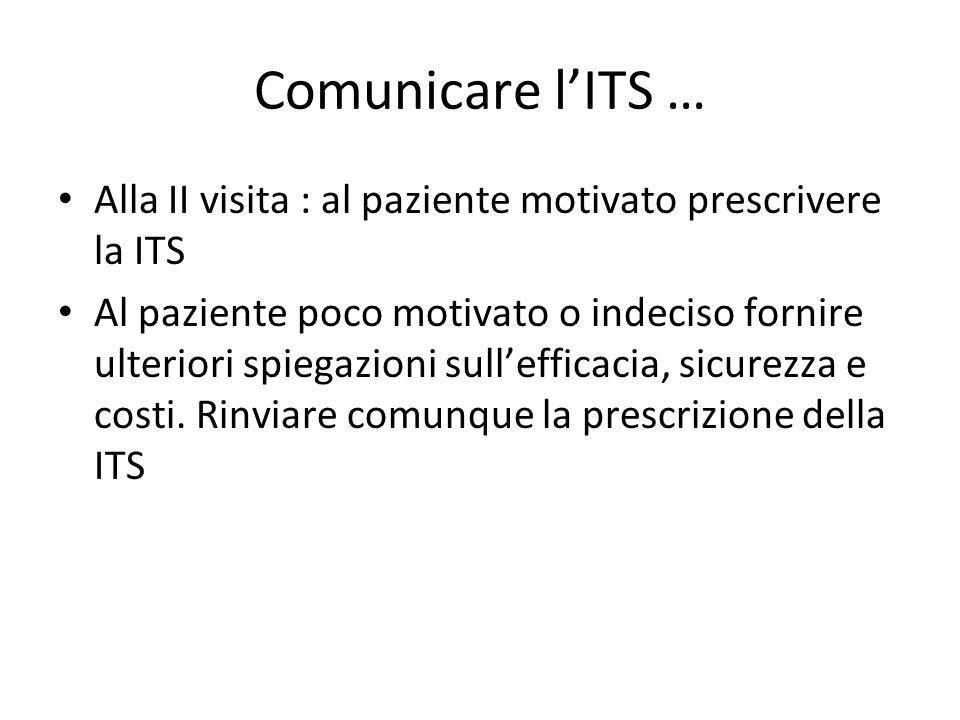 Comunicare l'ITS … Alla II visita : al paziente motivato prescrivere la ITS.