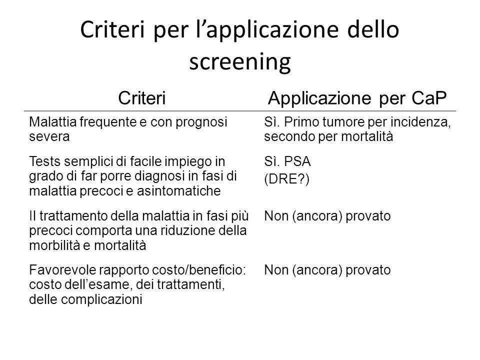 Criteri per l'applicazione dello screening