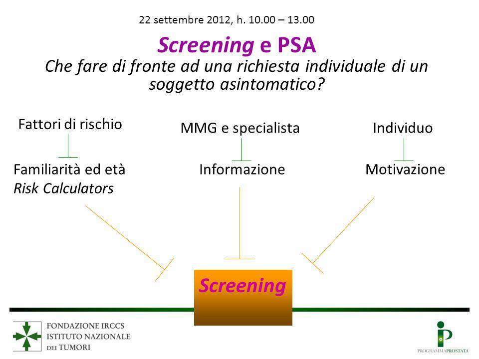 22 settembre 2012, h. 10.00 – 13.00 Screening e PSA. Che fare di fronte ad una richiesta individuale di un soggetto asintomatico