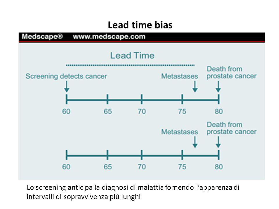Lead time bias Lo screening anticipa la diagnosi di malattia fornendo l'apparenza di.