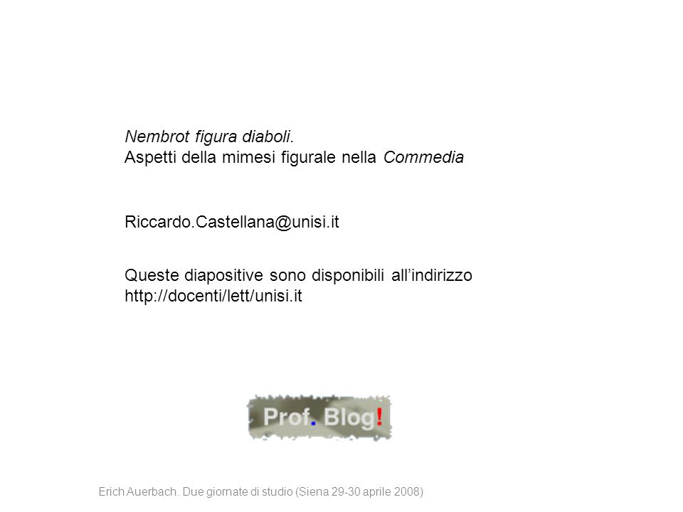 Erich Auerbach. Due giornate di studio (Siena 29-30 aprile 2008)