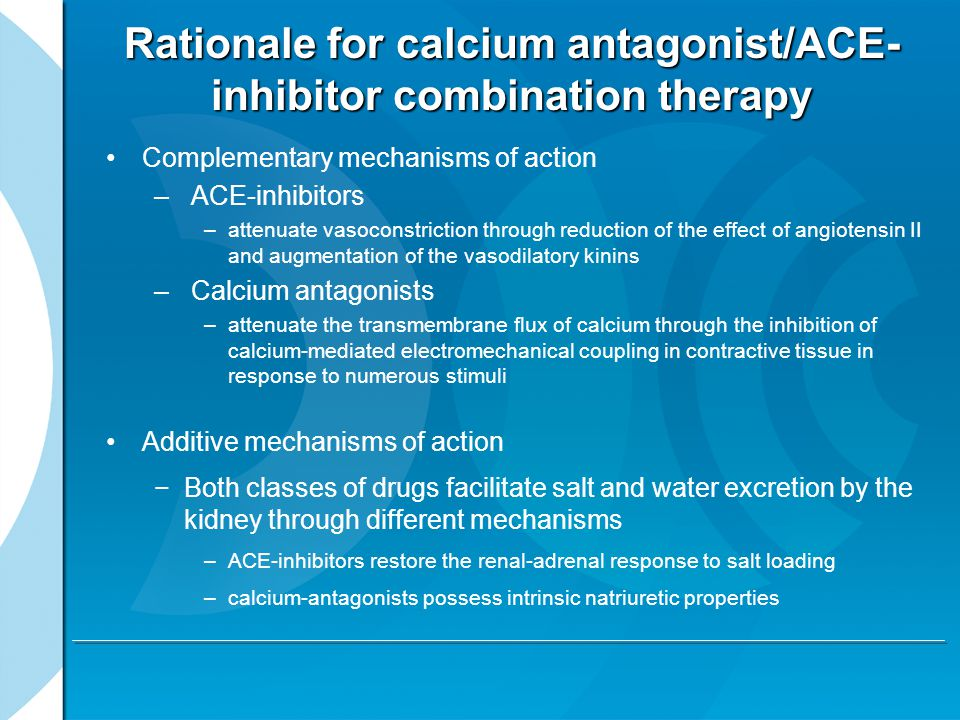 Rationale for calcium antagonist/ACE-inhibitor combination therapy