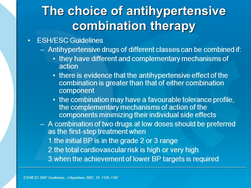 The choice of antihypertensive combination therapy