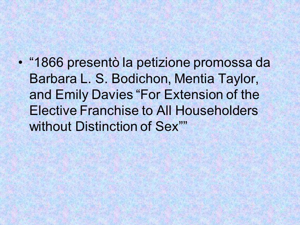 1866 presentò la petizione promossa da Barbara L. S