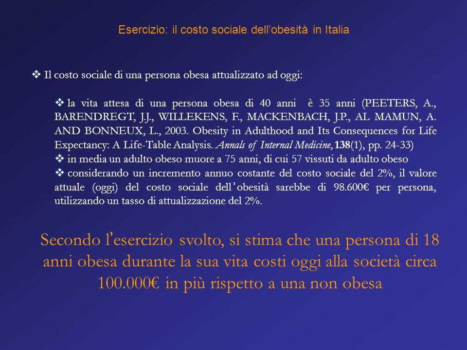 Esercizio: il costo sociale dell'obesità in Italia