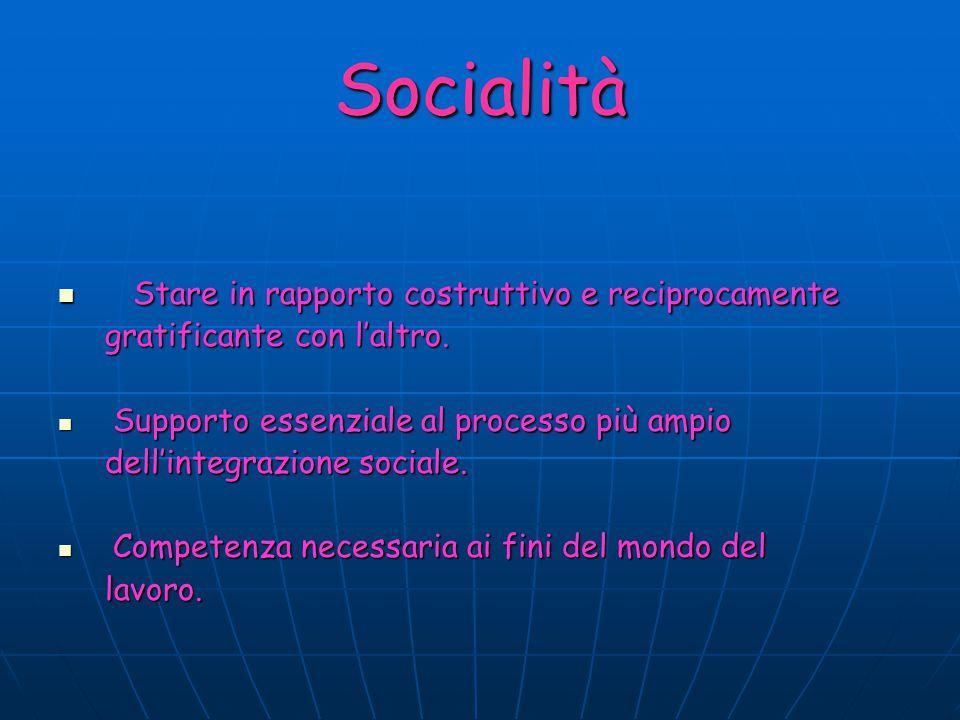 Socialità Stare in rapporto costruttivo e reciprocamente