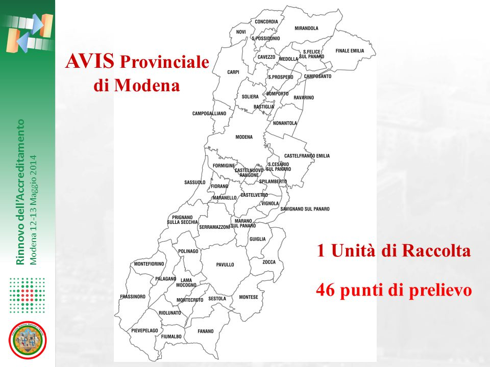 AVIS Provinciale di Modena 1 Unità di Raccolta 46 punti di prelievo