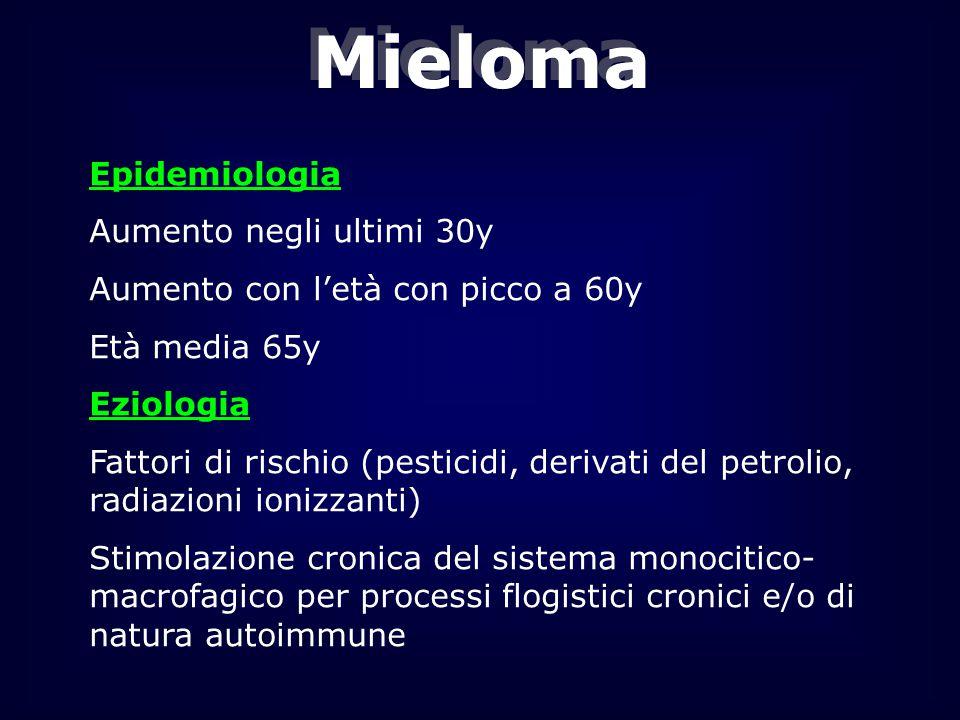 Mieloma Epidemiologia Aumento negli ultimi 30y