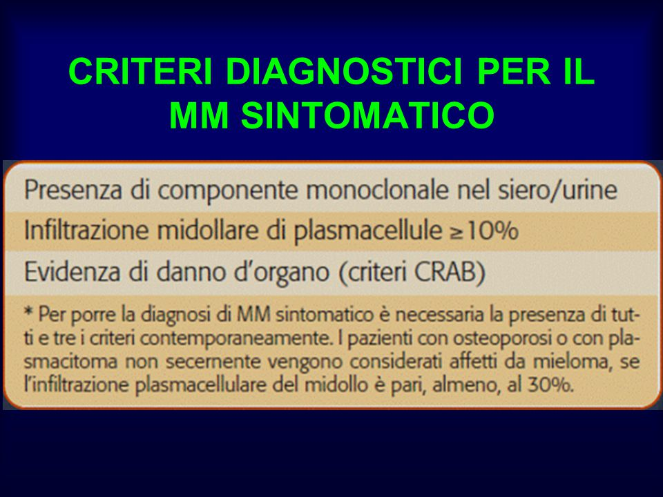 CRITERI DIAGNOSTICI PER IL MM SINTOMATICO