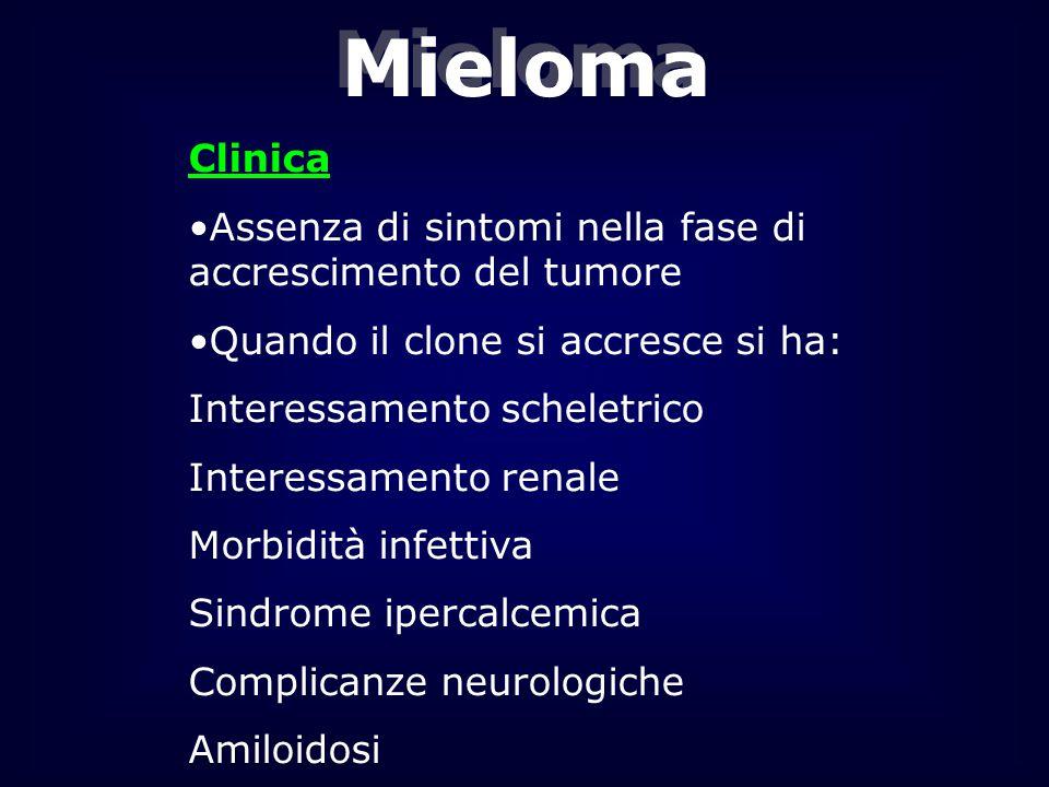 Mieloma Clinica. Assenza di sintomi nella fase di accrescimento del tumore. Quando il clone si accresce si ha: