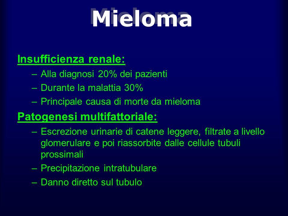 Mieloma Insufficienza renale: Patogenesi multifattoriale: