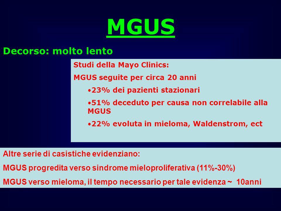 MGUS Decorso: molto lento Altre serie di casistiche evidenziano: