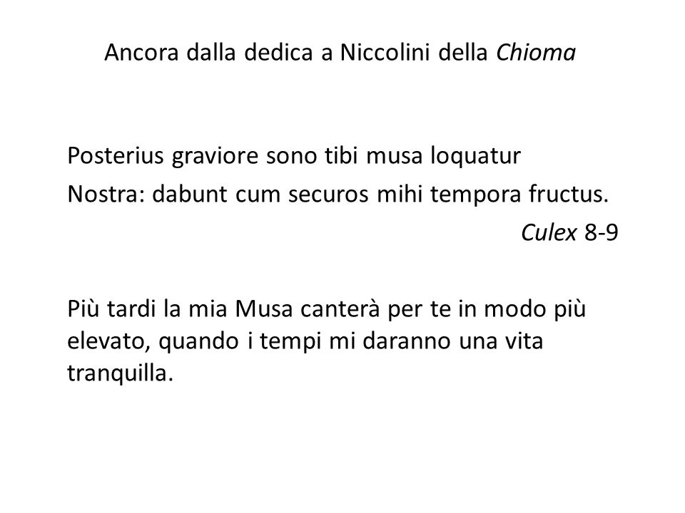 Ancora dalla dedica a Niccolini della Chioma