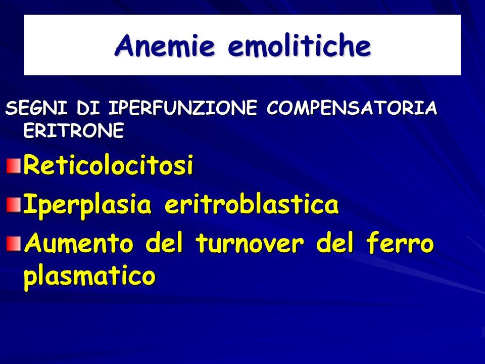 Anemie emolitiche Reticolocitosi Iperplasia eritroblastica