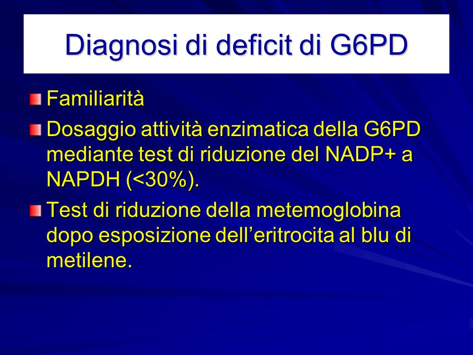 Diagnosi di deficit di G6PD