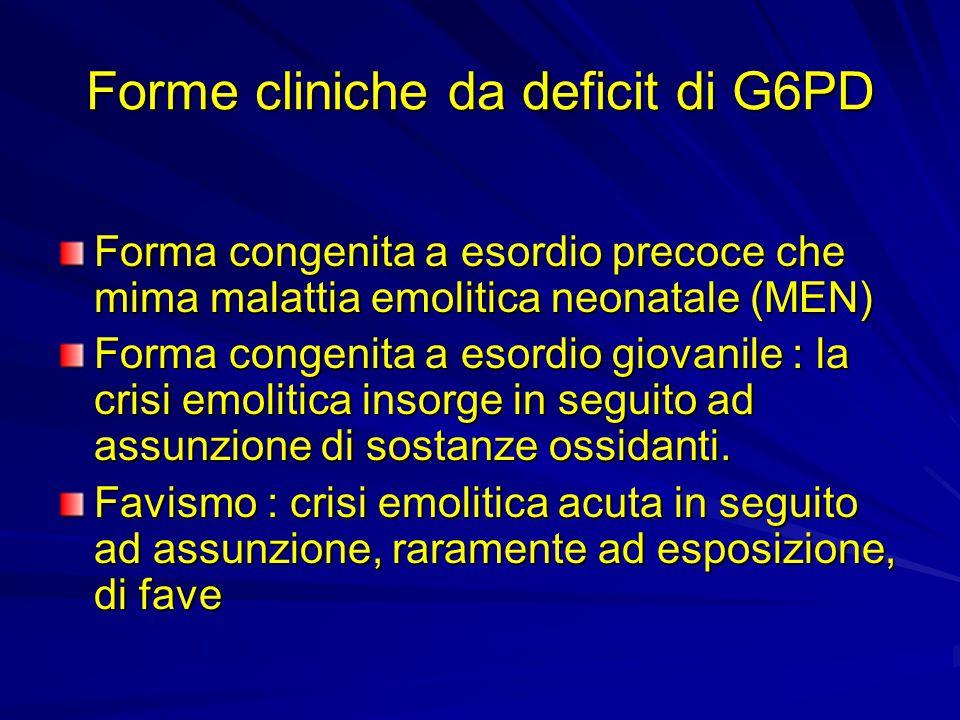 Forme cliniche da deficit di G6PD