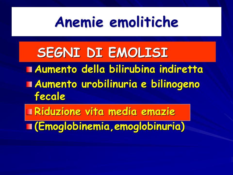 Anemie emolitiche SEGNI DI EMOLISI Aumento della bilirubina indiretta