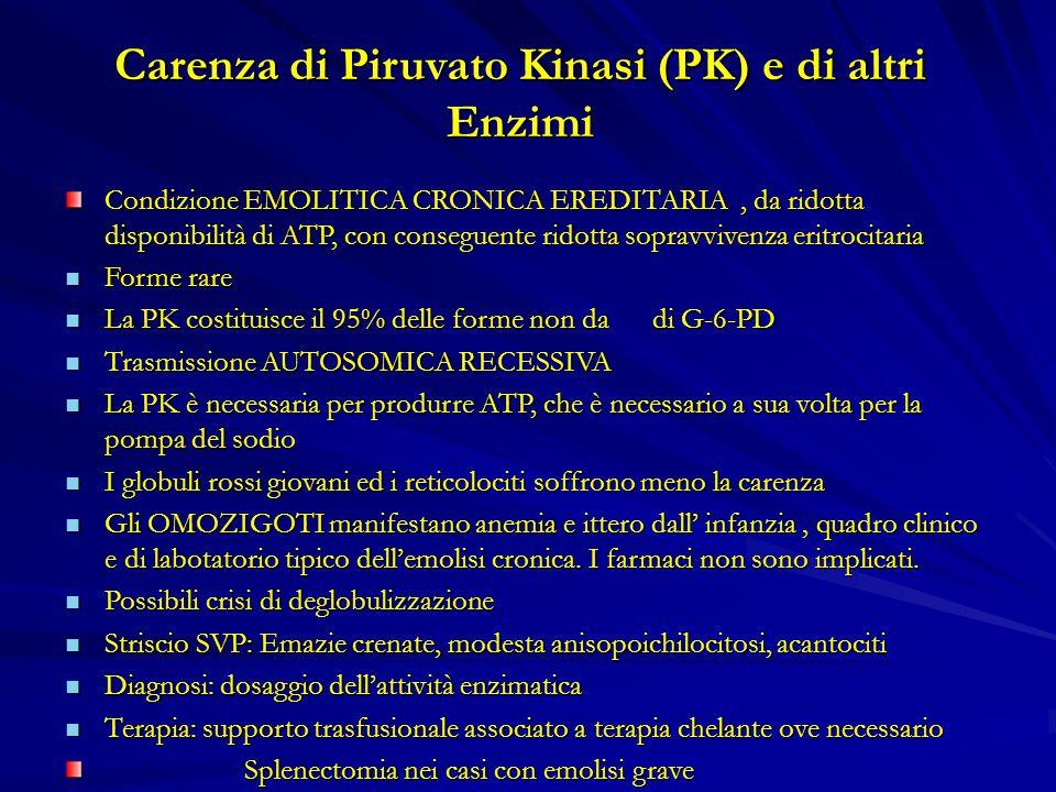 Carenza di Piruvato Kinasi (PK) e di altri Enzimi