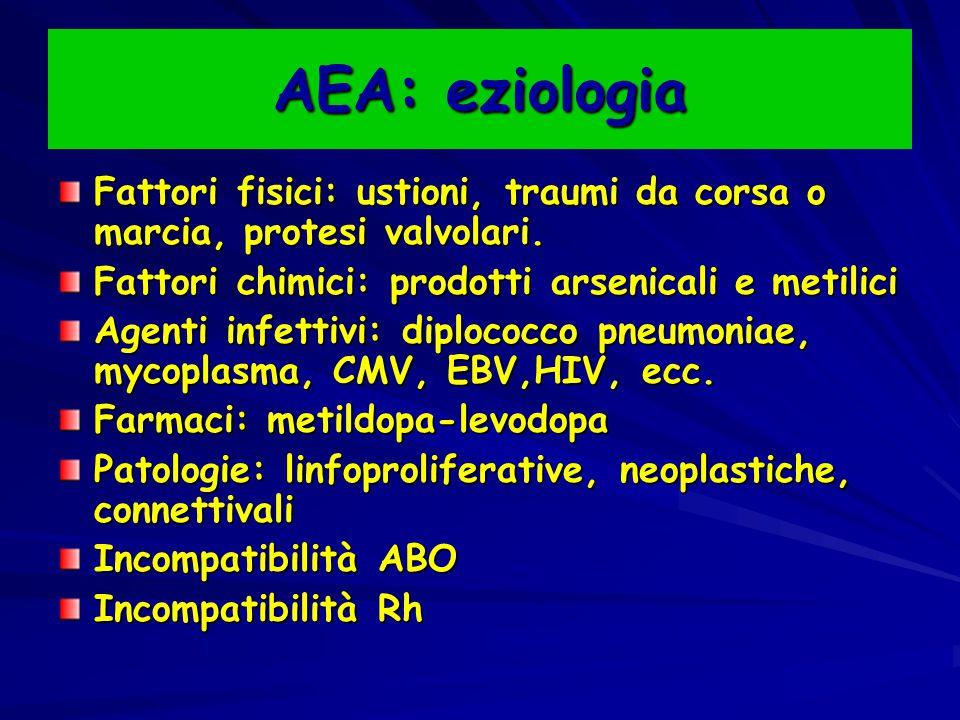 AEA: eziologia Fattori fisici: ustioni, traumi da corsa o marcia, protesi valvolari. Fattori chimici: prodotti arsenicali e metilici.