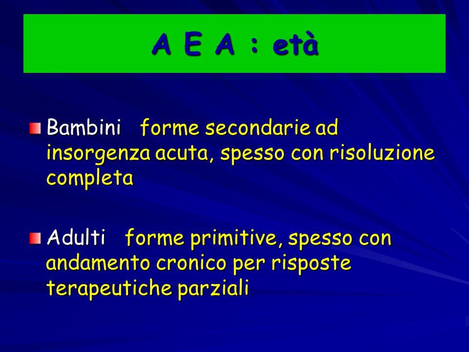A E A : età Bambini : forme secondarie ad insorgenza acuta, spesso con risoluzione completa.