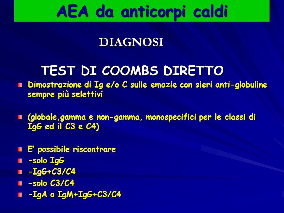 AEA da anticorpi caldi DIAGNOSI TEST DI COOMBS DIRETTO