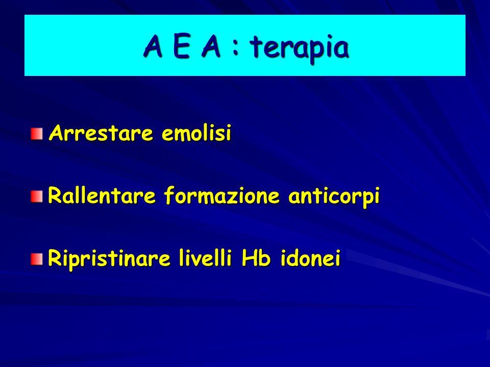A E A : terapia Arrestare emolisi Rallentare formazione anticorpi
