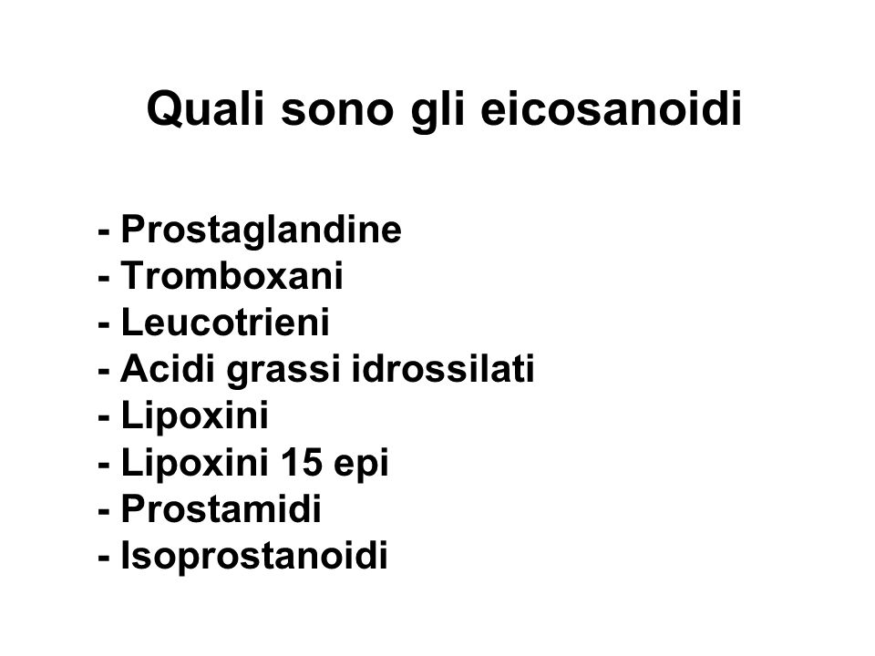 Quali sono gli eicosanoidi