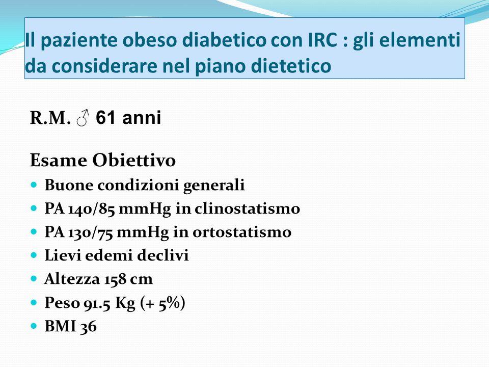 Il paziente obeso diabetico con IRC : gli elementi da considerare nel piano dietetico