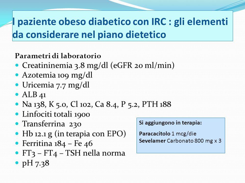 l paziente obeso diabetico con IRC : gli elementi da considerare nel piano dietetico