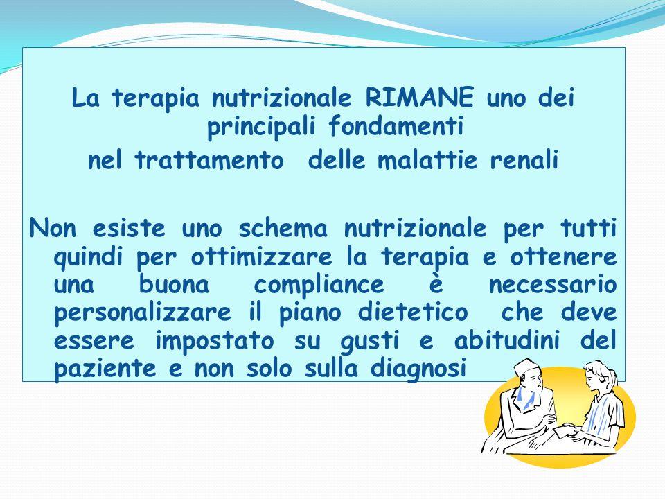 La terapia nutrizionale RIMANE uno dei principali fondamenti
